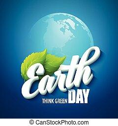 ベクトル, 葉, イラスト, day., 言葉, 緑, 惑星, 地球