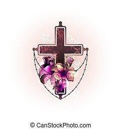 ベクトル, 葬式, 死, 交差点, flowers., 宗教, 蝋燭