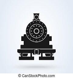ベクトル, 蒸気, アイコン, 背景, train., pictogram, 前部, 機関車, logotype., 白, 古い, 列車