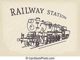 ベクトル, 蒸気, 機関車, レトロ