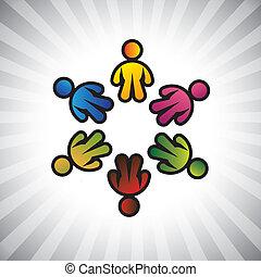 ベクトル, 表しなさい, 概念, のように, カラフルである, &, graphic-, 共有, icons(symbols), 共用体, イラスト, 子供, また, ∥あるいは∥, 子供, 缶, 概念, 従業員, 友情, circle., 遊び
