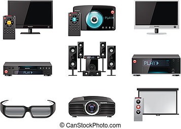 ベクトル, 装置, セット, ビデオ, アイコン