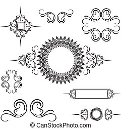ベクトル, 装飾用である, 渦巻, 装飾, セット