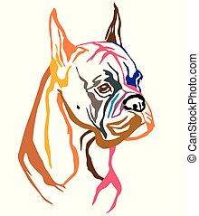ベクトル, 装飾用である, 肖像画, カラフルである, 犬, イラスト, ボクサー