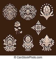 ベクトル, 装飾用, セット, elements., ダマスク織
