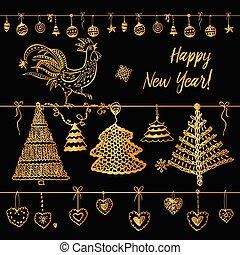 ベクトル, 要素, の, デザイン, ロゴ, logotype, グリーティングカード, ポスター, 衣類, 葉書, カレンダー, そして, 招待, ∥ために∥, パーティー, でき事, 新年おめでとう, おんどり, 2017.