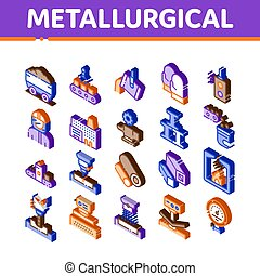 ベクトル, 要素, セット, アイコン, 等大, metallurgical