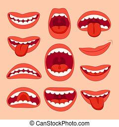 ベクトル, 要素, 口, ショー, collection., 意味深長, セット, 口, 微笑, 感情, phonemes, 微笑, 歯, 漫画, 舌