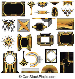 ベクトル, 要素, 芸術, 型, -, deco, デザイン, テキスト, フレーム, 場所, あなたの