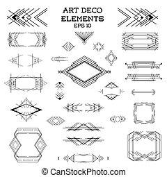ベクトル, 要素, 芸術, 型, -, deco, デザイン, フレーム