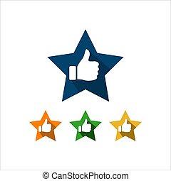 ベクトル, 親指, 成功, の上, シンボル, 印, 星, よい, 品質, logo., 評価, 評価