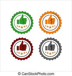 ベクトル, 親指, 成功, の上, ロゴ, シンボル, 星, よい, 評価, 品質, 評価, 印。, デザイン