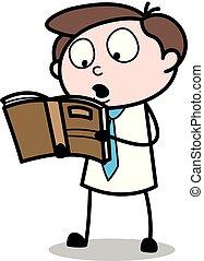 ベクトル, 試験, オフィス, -, イラスト, 本, 従業員, ビジネスマン, 読書, 漫画, 前に