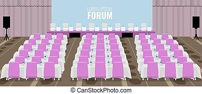 ベクトル, 講堂, chairs., ピンク, 空, illustration., 会議