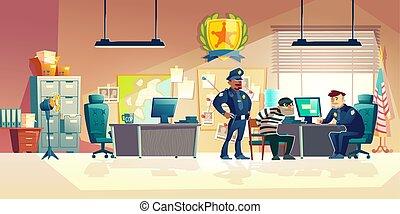 ベクトル, 警察, 尋問, 犯罪者, 漫画