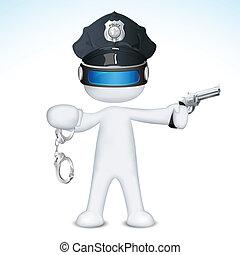 ベクトル, 警察, 3d, 人