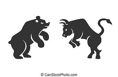 ベクトル, 財政, 雄牛, 熊, アイコン