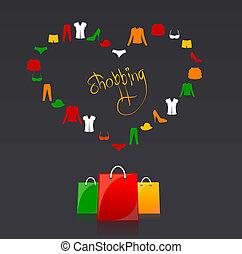 ベクトル, 買い物袋, そして, 衣服, 心