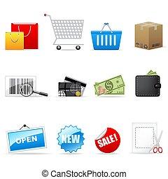 ベクトル, 買い物, セット, アイコン