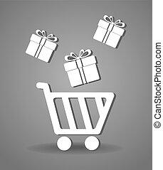 ベクトル, 買い物, デザイン, illustration.