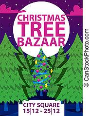 ベクトル, 買い物, 買い物, 冬, 提供, 大きい, 冬季, 木, 販売, イラスト, セール, 贈り物, フライヤ,...