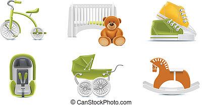 ベクトル, 赤ん坊, icons., p.2
