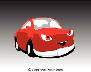 ベクトル, 赤, イラスト, 悪魔, 自動車, かわいい, 漫画, モンスター