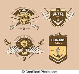 ベクトル, 軍, ラベル, 砂漠, 型