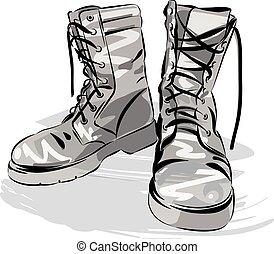 ベクトル, 軍, 革, 身につけられた, ブーツ, イラスト