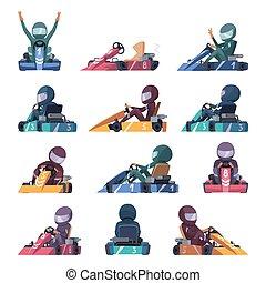 ベクトル, 速い, cars., レーサー, 漫画, 機械, スピード, イラスト, karting, 道