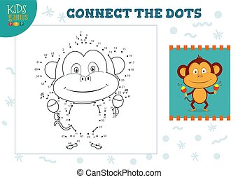 ベクトル, 連結しなさい, 点, ミニ, ゲーム, 子供, イラスト