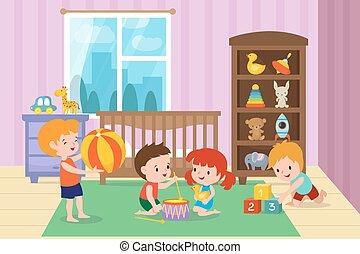ベクトル, 遊び, イラスト, 幼稚園, 遊戯場, おもちゃ, 子供