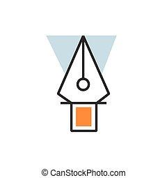 ベクトル, 道具, アイコン, ペン, eps10, オレンジ