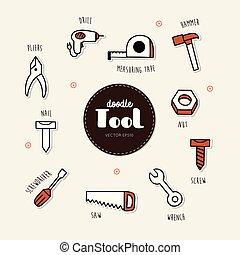 ベクトル, 道具, セット, doodle., icons.