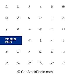 ベクトル, 道具, icons., イラスト
