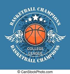 ベクトル, 選手権, 紋章, -, tシャツ, バスケットボール