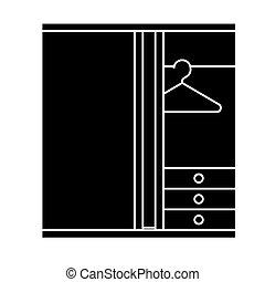 ベクトル, 部屋, ドレッシング, 背景, アイコン, 隔離された, 印, イラスト