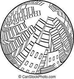 ベクトル, 都市現場, 中に, ∥, globe., cityscape., シルエット, の, skyscrapers., モノクローム, 建物。, ラウンド, design.