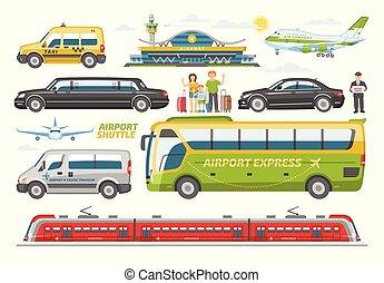 ベクトル, 都市, セット, 交通機関, 輸送可能である, 人々, バス, ∥あるいは∥, 隔離された, イラスト, 公衆, 空港, 列車, 背景, 車, 飛行機, 白, 輸送, 自動車