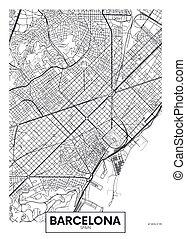 ベクトル, 都市, バルセロナ, 地図, ポスター