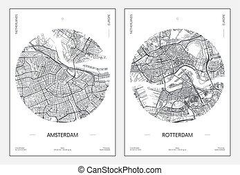 ベクトル, 都市, ポスター, アムステルダム, 旅行, 通り, イラスト, 都市 地図, rotterdam, 計画