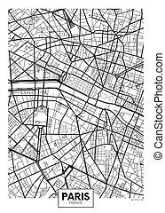 ベクトル, 都市 地図, パリ, ポスター