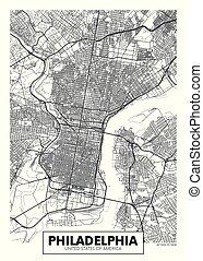ベクトル, 都市 地図, ポスター, フィラデルフィア