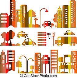 ベクトル, 都市, 夕方, かわいい, 通り, イラスト