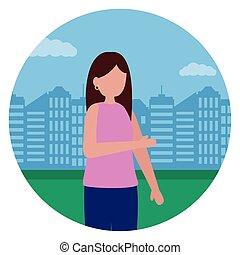 ベクトル, 都市, 女, 公園, イラスト