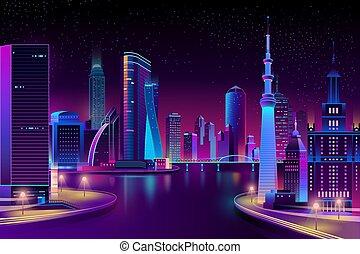 ベクトル, 都市, 現代, 川, night.