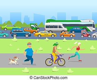 ベクトル, 都市 生活, セット, 交通機関, road., banner., 自動車, 車, 自転車, 都市, 他, 交通, 背景, 道具, バス, 輸送, illustration.