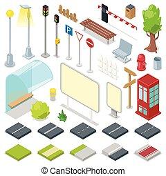 ベクトル, 都市, 等大, セット, 都市の景観, 公園, バス停, 隔離された, イラスト, ベンチ, streetlight, 通り, 交通, 背景, ライト, 道, 白