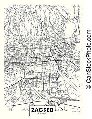ベクトル, 都市, 詳しい, 地図, ポスター, ザグレブ