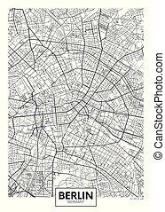 ベクトル, 都市, 詳しい, 地図, ポスター, ベルリン